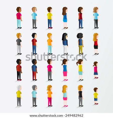 Men and Women People In Side Standing View Vector Illustration - stock vector