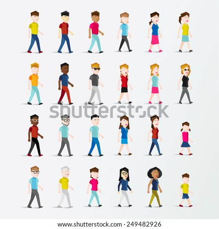 Men and Women People Walking Icon Vector Illustration - stock vector