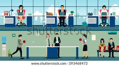 Men and women playing table tennis at work. - stock vector