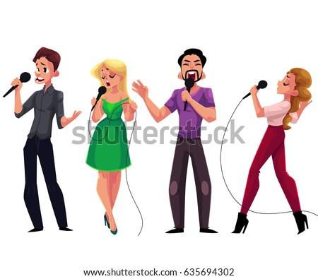 Animated people singing