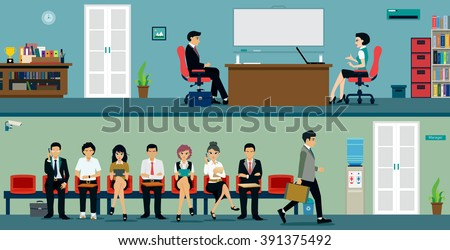 Men and women waiting for a job interview. - stock vector