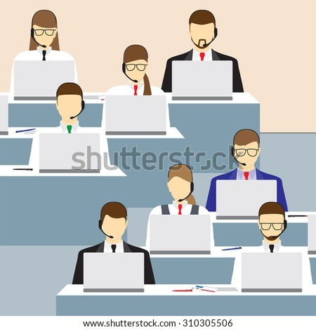 Men and women working in a call center. Call center. Support service. Concept. Elements for design. Vector illustration. - stock vector