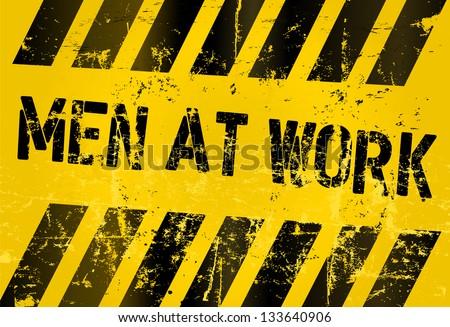 Men at work sign,vector illustration - stock vector