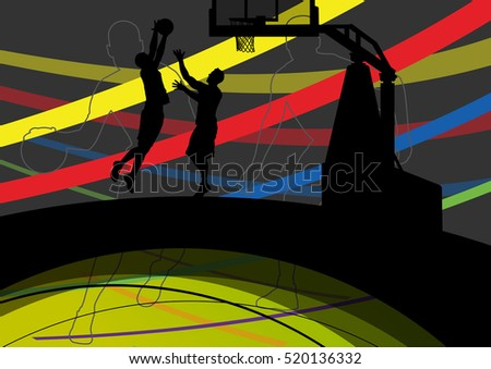 Men basketball players active and  healthy sport silhouettes vector abstract background illustration
