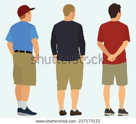 Men being View from the Back are Watching Something - stock vector