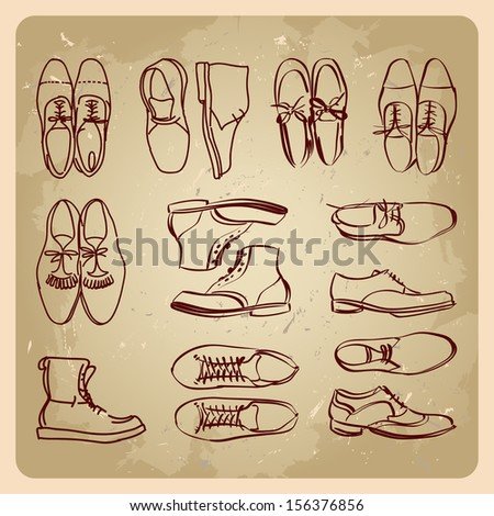 men boots shoe hipster style  on the vintage background  - stock vector