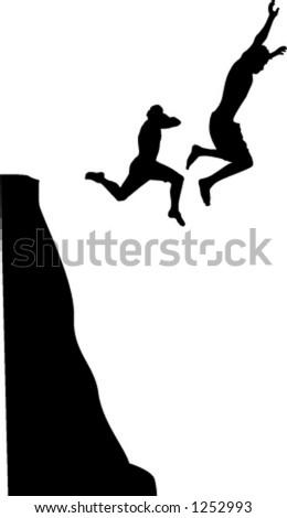 men cliff jumping - stock vector