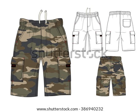 Men Combat Pant with Camouflage Print - stock vector