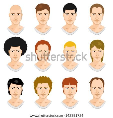 Men faces set - stock vector