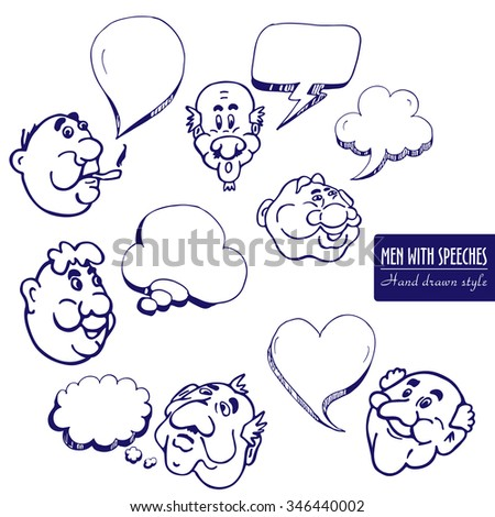 Men faces with dialog speech bubbles in hand drawn style in cyan pen color - stock vector