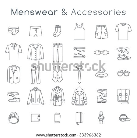 Men fashion clothing and accessories flat line vector icons. Linear objects of male outfit, underwear, shoes and every day essentials for any season. Modern urban casual style collection - stock vector