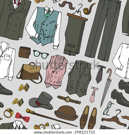 Men fashion wear seamless pattern.Doodle modern gentleman clothing set.Father day,hipster style.Isolated elements,icons.Hand drawn vintage Vector Illustration,sketch.Retro Man wedding kit - stock vector