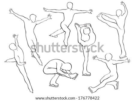 Men figure skating in motion on the ice. Set of silhouettes in vector. Winter sports. Falling snowflakes background. Illustration