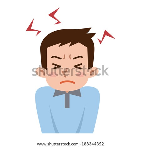 Men get frustrated with stress - stock vector