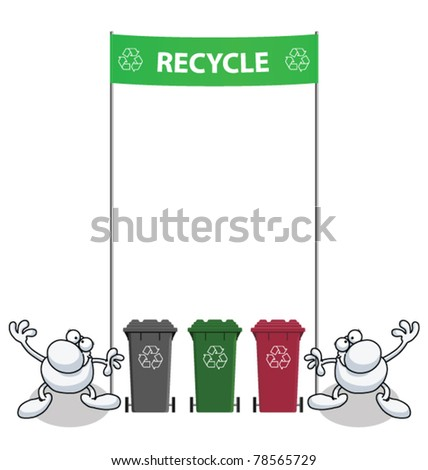 Men holding green banner with recycling message - stock vector