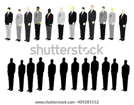 men in suits pixel art - stock vector