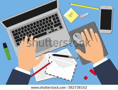 Men in the workplace. Top view of male hands, desk, laptop screen, stock vector illustration. - stock vector