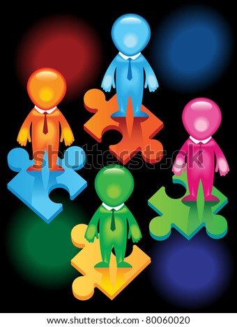 Men joining together to form one team in one direction.To achieve one goal - stock vector