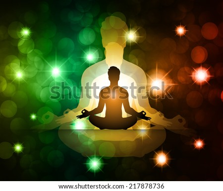 Men meditate, yoga. Abstract vector background, Lights elements background.  - stock vector