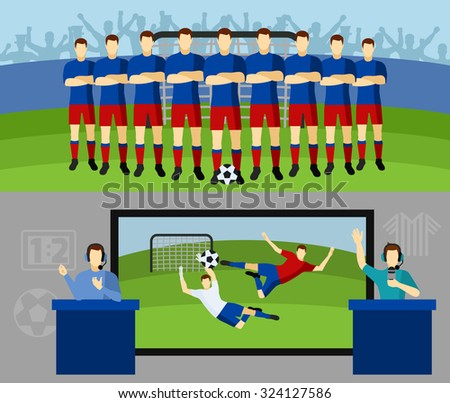 Men national soccer team and tv transmission with commentators 2 flat banners set abstract isolated vector illustration - stock vector
