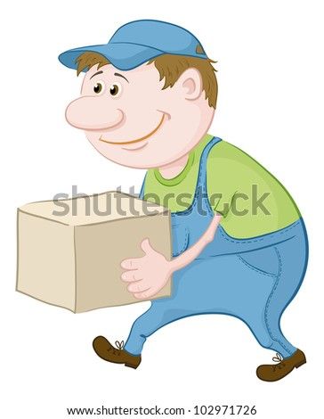 Men porter in working uniform carries a box. Vector illustration - stock vector