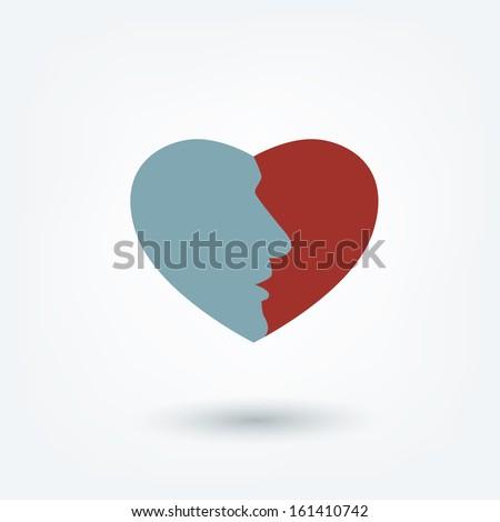 Men profile head in heart icon. - stock vector
