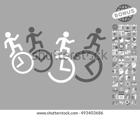Men Running Over Clocks icon with bonus calendar and time management pictures. Vector illustration style is flat iconic bicolor symbols, dark gray and white colors, silver background.