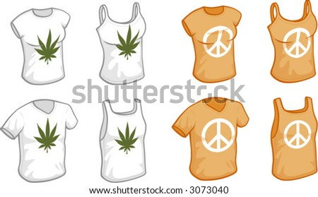 Men's and women's T-shirts and tank-tops, HIPPIE THEME - stock vector