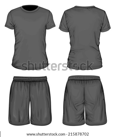 Men's black short sleeve t-shirt and sport shorts design templates (front and back views). Vector illustration. - stock vector
