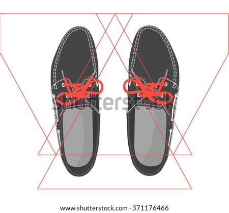 Men's boat shoes top view - stock vector