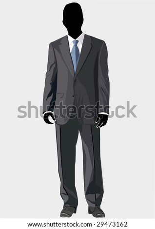 Men's business suit template with blue tie - stock vector