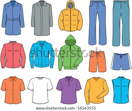 Men's casual clothes and sportswear - stock vector