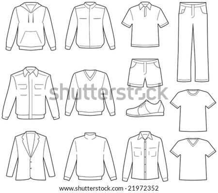 Men's casual clothes illustration - stock vector