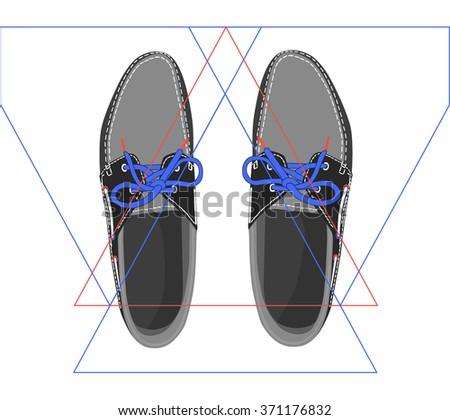 Men's classic shoes top view - stock vector