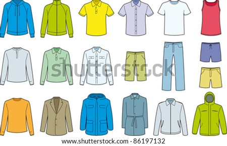 Men's clothes isolated - Vector - stock vector