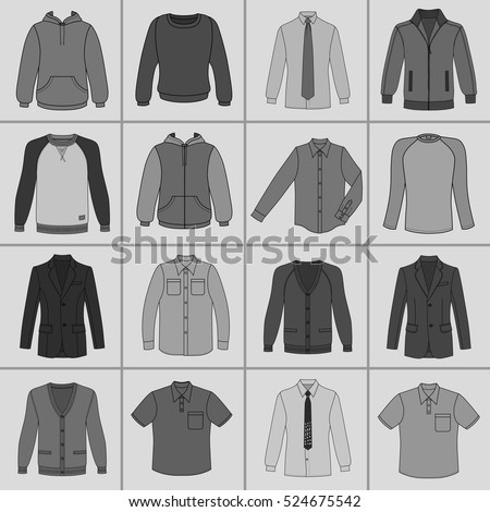 Men's clothing outlined template set front view (jacket, shirt, cardigan, sweatshirt, sports pullover, hoodie), vector illustration isolated on grey background