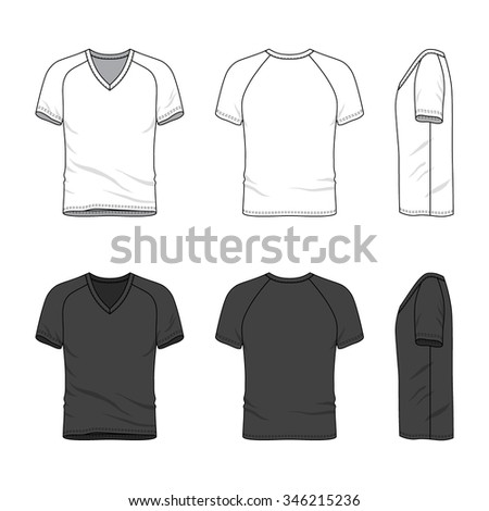 Men's clothing set in white and black colors. Front, back and side views of blank v-neck t-shirt with raglan sleeve. Casual style. Vector templates for your fashion design. Isolated on white. - stock vector