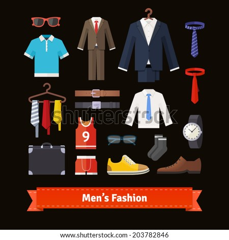 Men�s fashion colourful flat icon set. Apparel, suits, shirts, shoes and accessories. Retail store assortment. EPS 10 vector. - stock vector