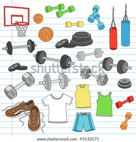 Men's Fitness Workout Sports Apparel and Exercise Equipment Notebook Doodle Design Elements Set on Lined Sketchbook Paper Background- Vector Illustration - stock vector