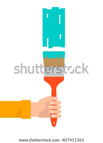 Men's hand holds a paint brush with a green color. Interior design, repair concept. Isolated vector illustration flat design. Vertical banner - stock vector