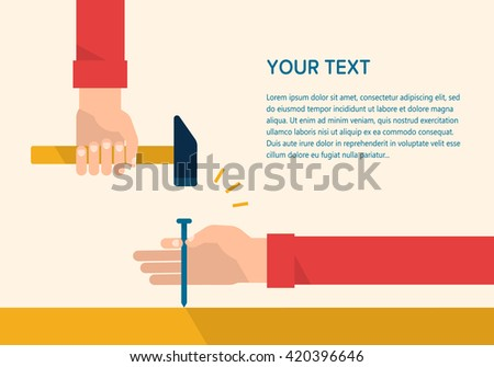 Men's hands hold a hammer and steel nail. Construction, engineering, repair concept. Isolated vector illustration flat design. Template for your text - stock vector