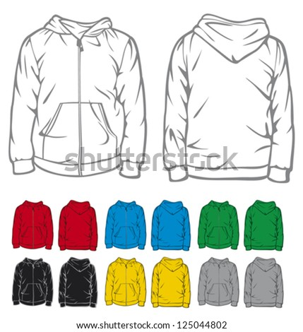 men's hooded sweatshirt with pocket (hooded sweatshirt with zipper) - stock vector