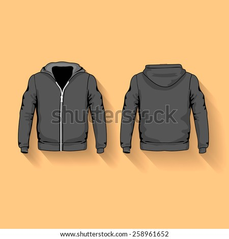 Men s hoodie shirts template front and back views vector flat - stock vector
