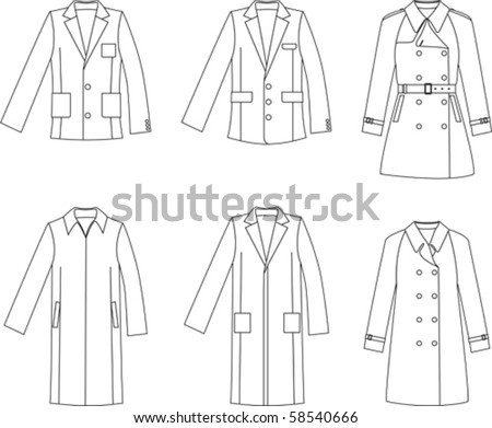 Men s  jacket and coat collection - stock vector