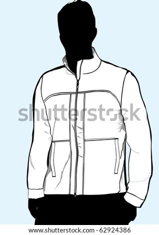Men's jacket or sweatshirt template with zipper - stock vector