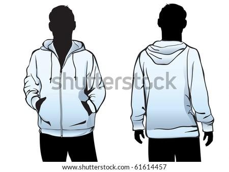 Men's jacket or sweatshirt template with zipper in blue - stock vector