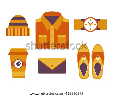 Men's outfits, still life, shoes, shirt, hat, watches, wallet, take away coffee, top view. Hipster style