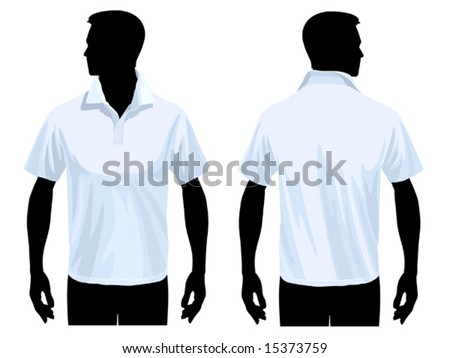 Men's polo shirt template with human body silhouette