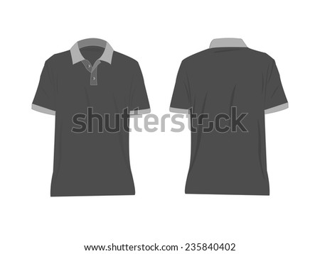 Men's polo-shirts template. Front and back views. Raster version - stock vector