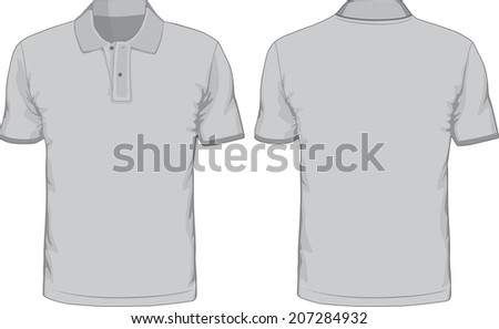 Men's polo-shirts template. Front and back views. Vector illustration. - stock vector